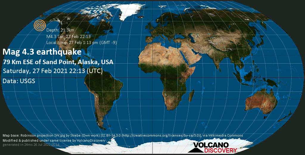 Moderate mag. 4.3 earthquake - 50 mi southeast of Sand Point, Aleutians East County, Alaska, USA, on Saturday, 27 Feb 2021 1:13 pm (GMT -9)