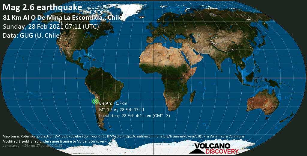 Minor mag. 2.6 earthquake - 87 km southeast of Antofagasta, Chile, on Sunday, 28 Feb 2021 4:11 am (GMT -3)