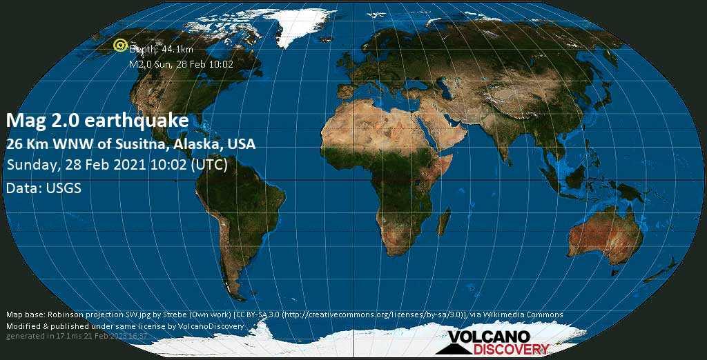 Minor mag. 2.0 earthquake - 26 Km WNW of Susitna, Alaska, USA, on Sunday, 28 Feb 2021 1:02 am (GMT -9)