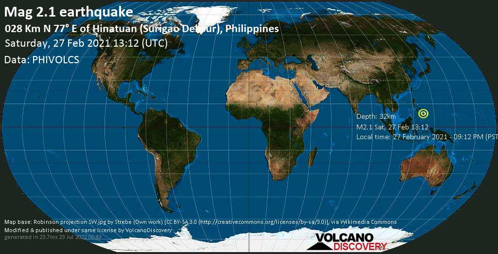 Minor mag. 2.1 earthquake - Philippines Sea, 37 km northeast of Bislig, Philippines, on Saturday, 27 Feb 2021 1:12 pm (GMT +0)