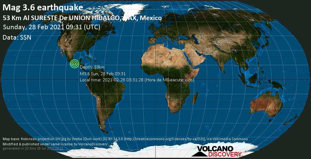 Weak mag. 3.6 earthquake - North Pacific Ocean, 58 km east of Salina Cruz, Oaxaca, Mexico, on 2021-02-28 03:31:28 (Hora de México)