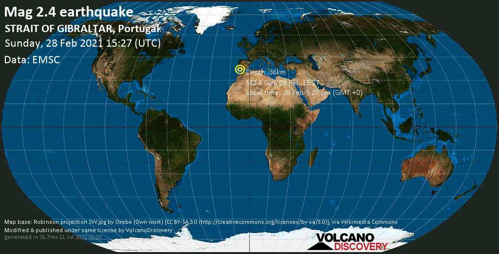 Minor mag. 2.4 earthquake - North Atlantic Ocean, 57 km southeast of Faro, Portugal, on Sunday, 28 Feb 2021 3:27 pm (GMT +0)