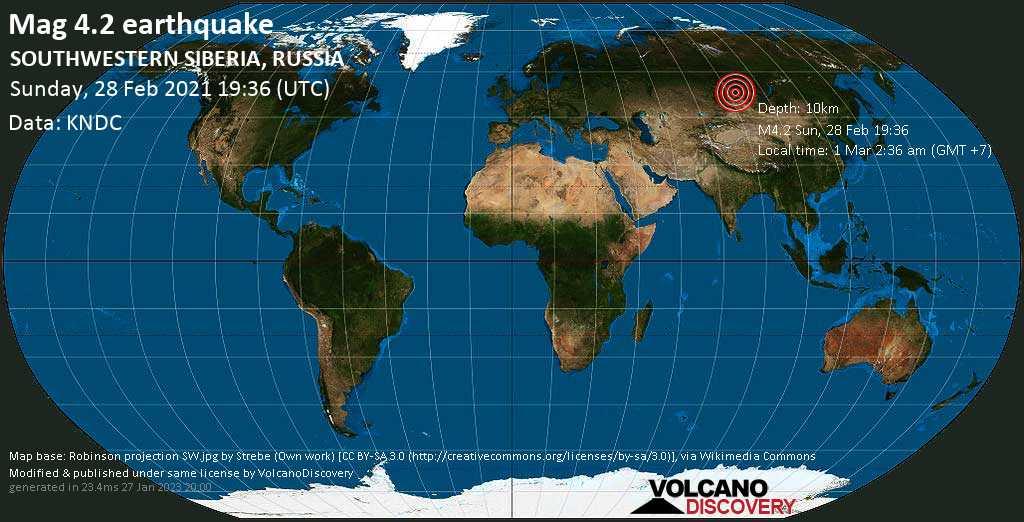 Moderate mag. 4.2 earthquake - Krasnoyarskiy Kray, 78 km southeast of Sayanogorsk, Khakasiya Republic, Russia, on Monday, 1 Mar 2021 2:36 am (GMT +7)