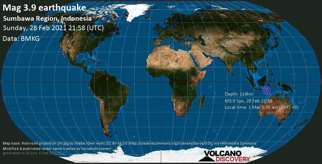 Weak mag. 3.9 earthquake - Indian Ocean, 15 km southwest of Dompu, West Nusa Tenggara, Indonesia, on Monday, 1 Mar 2021 5:58 am (GMT +8)