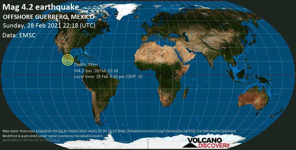 Light mag. 4.2 earthquake - North Pacific Ocean, 63 km southwest of Ometepec, Guerrero, Mexico, on Sunday, 28 Feb 2021 4:18 pm (GMT -6)