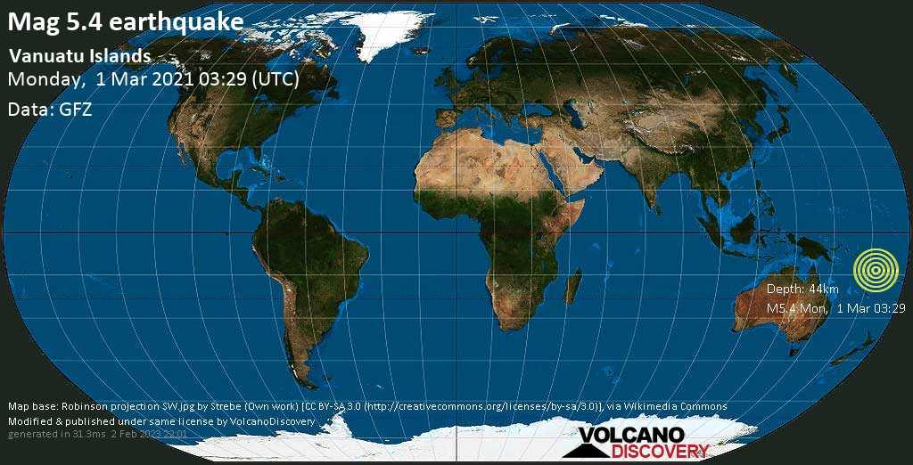 Moderate mag. 5.4 earthquake - Coral Sea, Vanuatu, on Monday, 1 Mar 2021 2:29 pm (GMT +11)