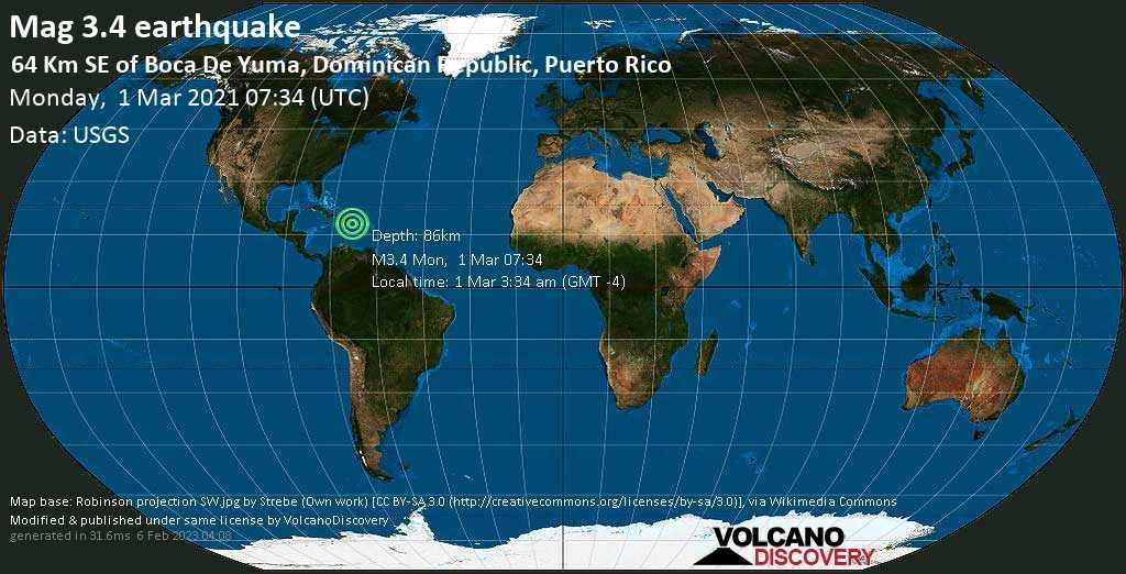 Sismo muy débil mag. 3.4 - Caribbean Sea, 91 km SE of Salvaleon de Higüey, Dominican Republic, Monday, 01 Mar. 2021