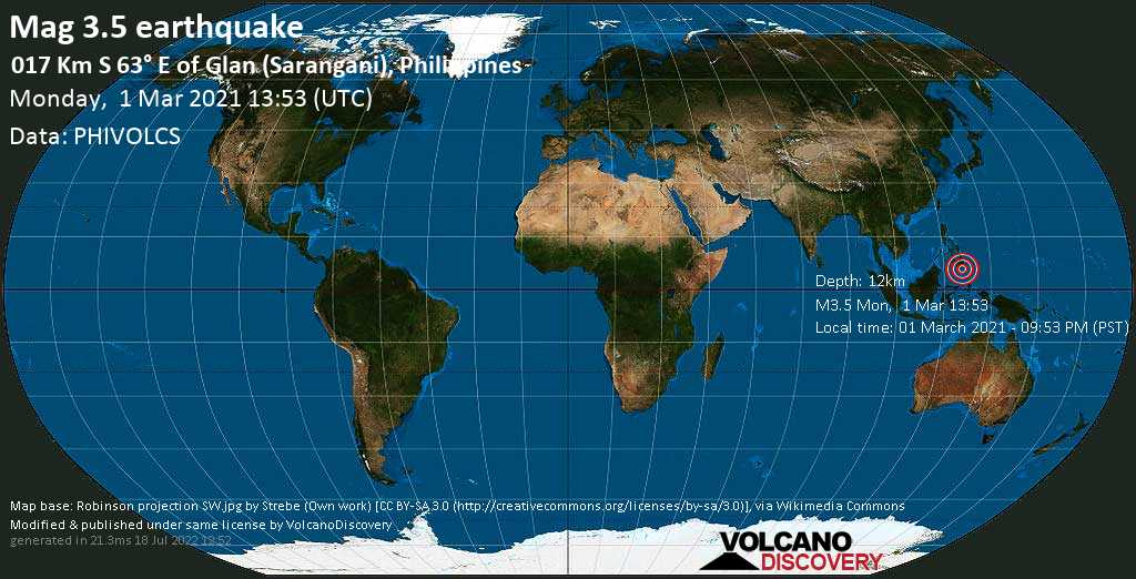 Light mag. 3.5 earthquake - 17 km southeast of Glan, Province of Sarangani, Soccsksargen, Philippines, on Monday, 1 Mar 2021 9:53 pm (GMT +8)