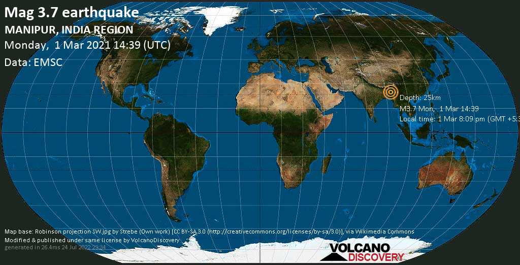 Light mag. 3.7 earthquake - Imphal West, Manipur, 35 km southeast of Silchar, Cachar, Assam, India, on Monday, 1 Mar 2021 8:09 pm (GMT +5:30)