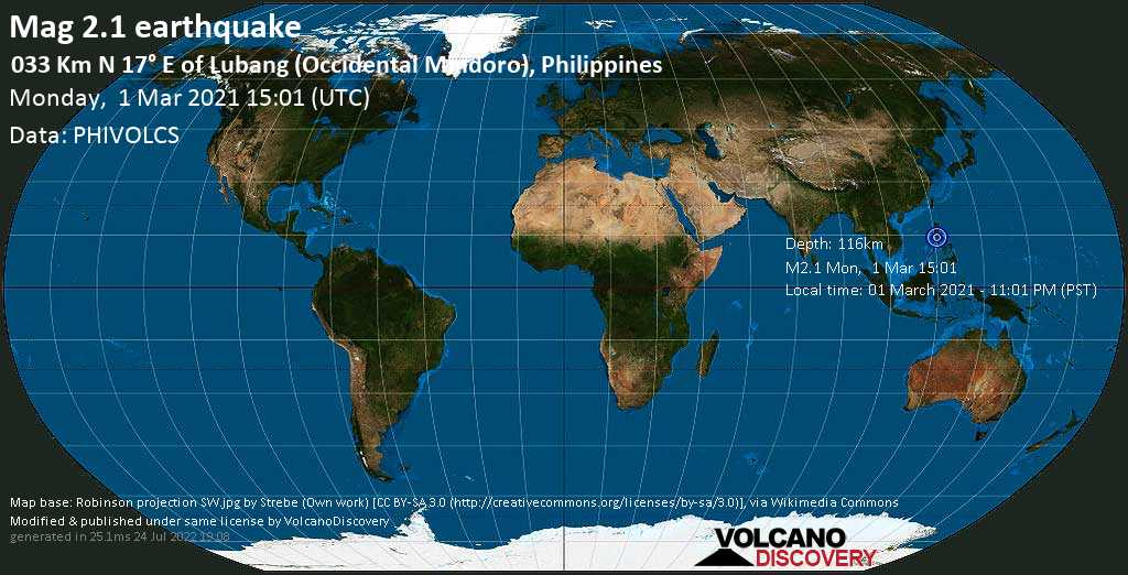 Minor mag. 2.1 earthquake - South China Sea, 98 km southwest of Manila, Philippines, on Monday, 1 Mar 2021 11:01 pm (GMT +8)