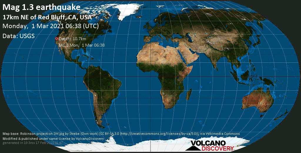 Sehr schwaches Beben Stärke 1.3 - 17km NE of Red Bluff, CA, USA, am Montag,  1. Mär 2021 um 06:38 GMT
