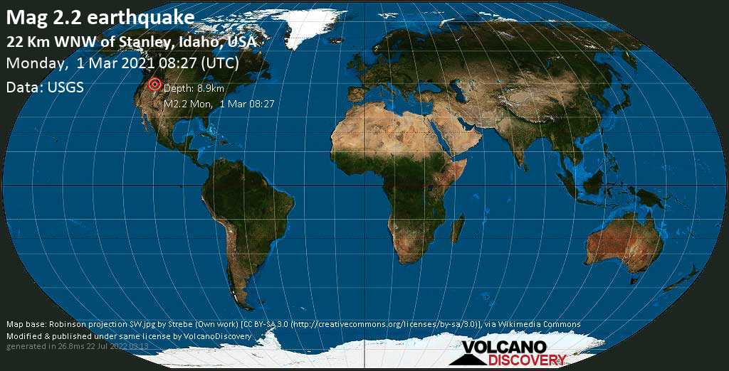 Schwaches Erdbeben Stärke 2.2 - 22 Km WNW of Stanley, Idaho, USA, am Montag,  1. Mär 2021 um 08:27 GMT