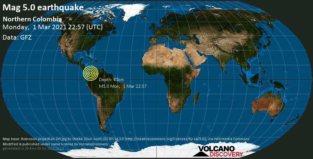 Moderate mag. 5.0 earthquake - Betulia, 52 km west of Medellin, Antioquia, Colombia, on Monday, 1 Mar 2021 5:57 pm (GMT -5)