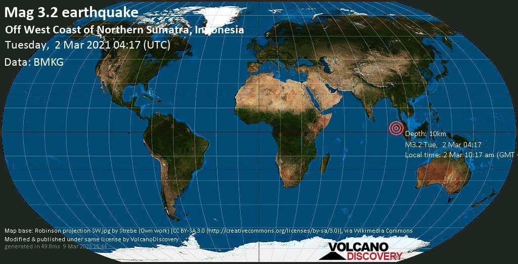 Sismo leggero mag. 3.2 - Indian Ocean, 107 km a ovest da Sinabang, Kabupaten Simeulue, Aceh, Indonesia, martedí, 02 marzo 2021