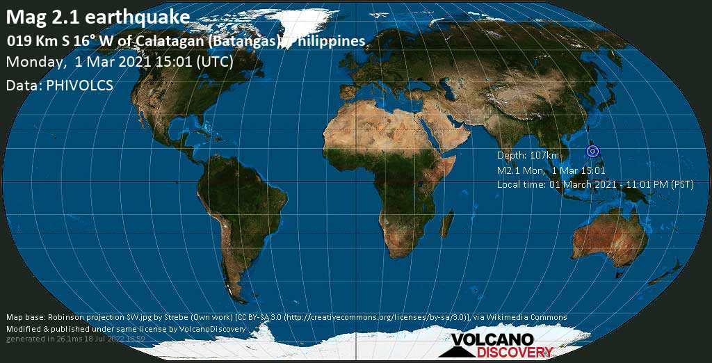 Minor mag. 2.1 earthquake - South China Sea, 20 km south of Calatagan, Batangas, Calabarzon, Philippines, on 01 March 2021 - 11:01 PM (PST)