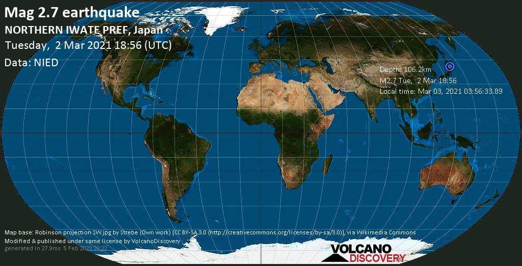 Minor mag. 2.7 earthquake - Kunohe-gun, Iwate, 21 km southeast of Hachinohe, Aomori, Japan, on Wednesday, 3 Mar 2021 3:56 am (GMT +9)
