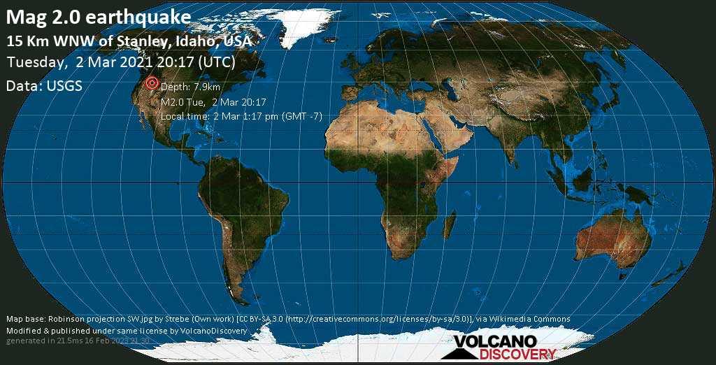 Sehr schwaches Beben Stärke 2.0 - Custer County, 113 km nordöstlich von Boise, Ada County, Idaho, USA, am Dienstag,  2. Mär 2021 um 13:17 Lokalzeit