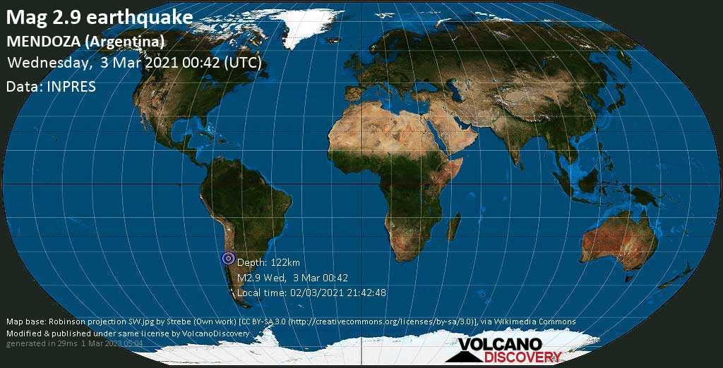 Minor mag. 2.9 earthquake - Departamento de Las Heras, 97 km west of Mendoza, Departamento de Guaymallén, Mendoza, Argentina, on Tuesday, 2 Mar 2021 9:42 pm (GMT -3)