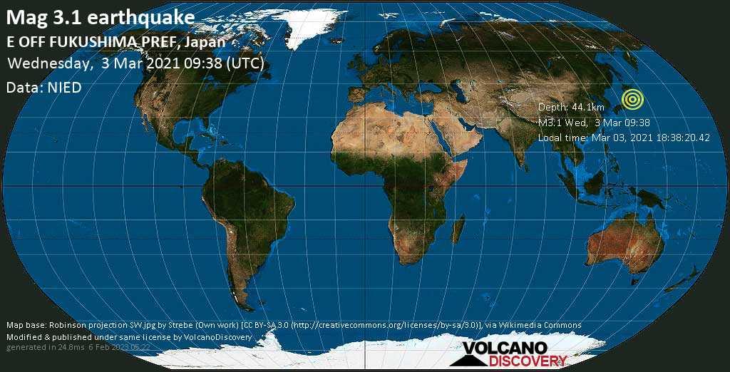 Weak mag. 3.1 earthquake - North Pacific Ocean, 98 km southeast of Sendai, Miyagi, Japan, on Wednesday, 3 Mar 2021 6:38 pm (GMT +9)