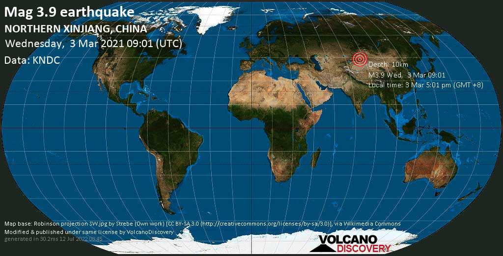 Moderate mag. 3.9 earthquake - 89 km south of Shihezi, Xinjiang, China, on Wednesday, 3 Mar 2021 5:01 pm (GMT +8)