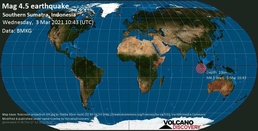 Moderate mag. 4.5 earthquake - Indian Ocean, 199 km west of Bengkulu, Indonesia, on Wednesday, 3 Mar 2021 5:43 pm (GMT +7)