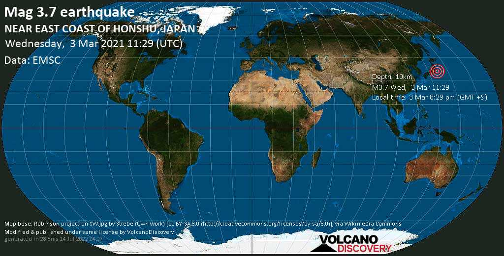 Light mag. 3.7 earthquake - North Pacific Ocean, 9.5 km northeast of Hasaki, Chōshi-shi, Chiba, Japan, on Wednesday, 3 Mar 2021 8:29 pm (GMT +9)
