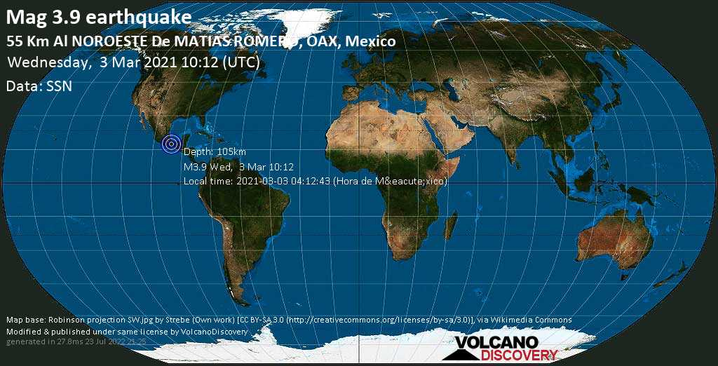 Weak mag. 3.9 earthquake - San Juan Mazatlan, 54 km northwest of Matias Romero, Oaxaca, Mexico, on 2021-03-03 04:12:43 (Hora de México)