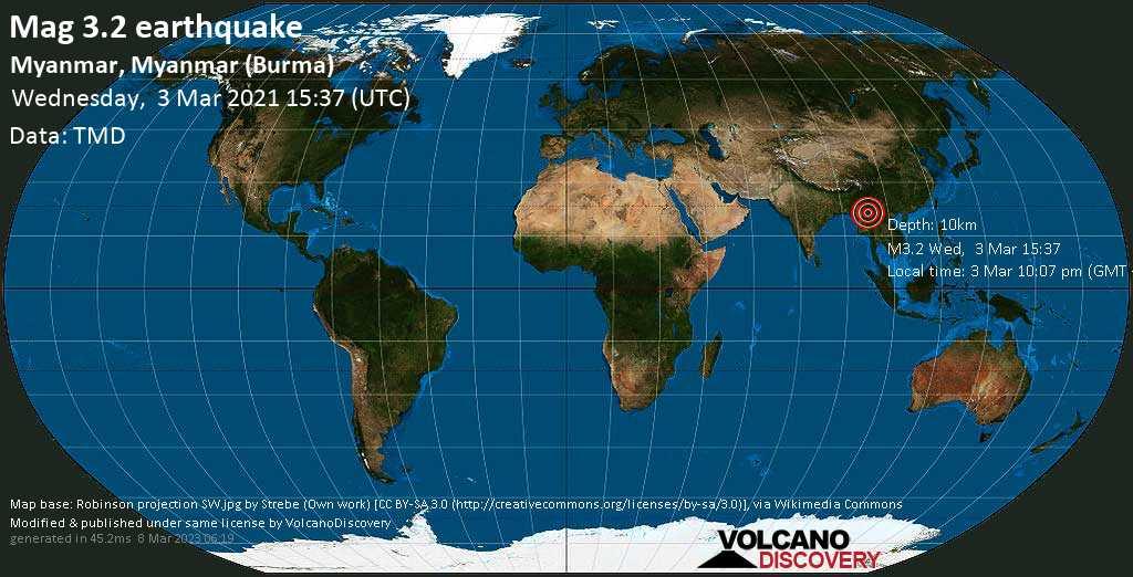Light mag. 3.2 earthquake - Loilem District, 84 km northeast of Taunggyi, Shan State, Myanmar (Burma), on Wednesday, 3 Mar 2021 10:07 pm (GMT +6:30)