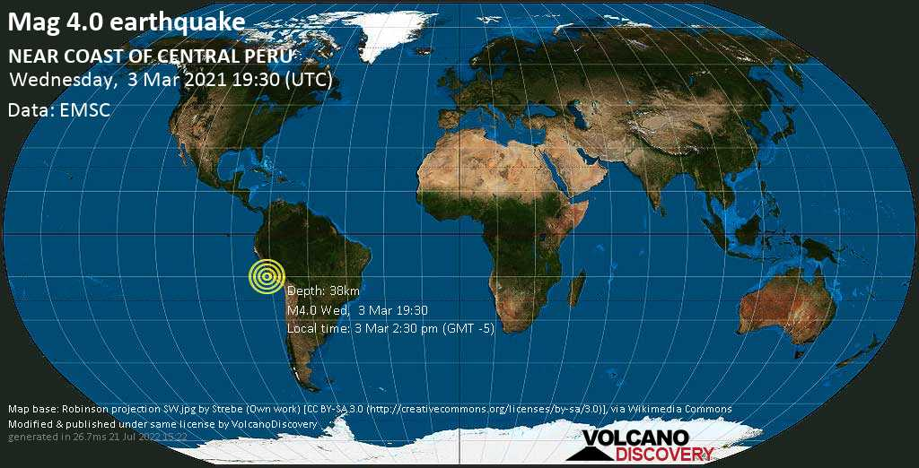 Light mag. 4.0 earthquake - South Pacific Ocean, 97 km south of Ica, Peru, on Wednesday, 3 Mar 2021 2:30 pm (GMT -5)