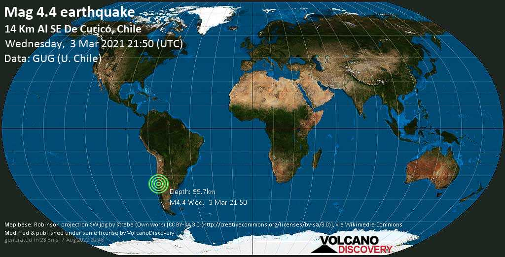 Light mag. 4.4 earthquake - Curicó, 14 km southeast of Curico, Maule Region, Chile, on Wednesday, 3 Mar 2021 6:50 pm (GMT -3)