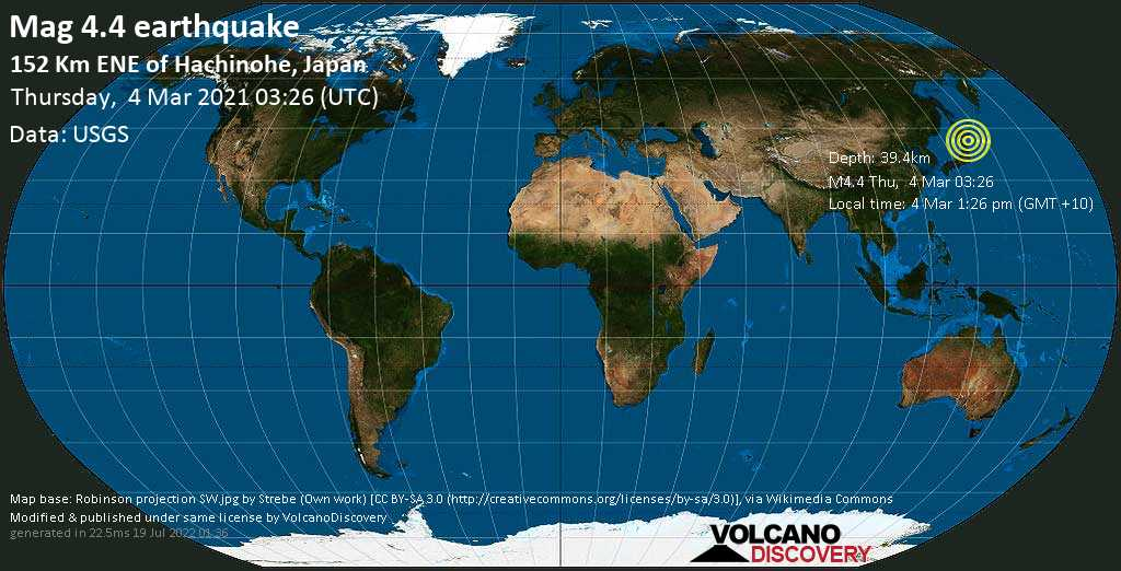 Light mag. 4.4 earthquake - North Pacific Ocean, 153 km northeast of Hachinohe, Aomori, Japan, on Thursday, 4 Mar 2021 1:26 pm (GMT +10)