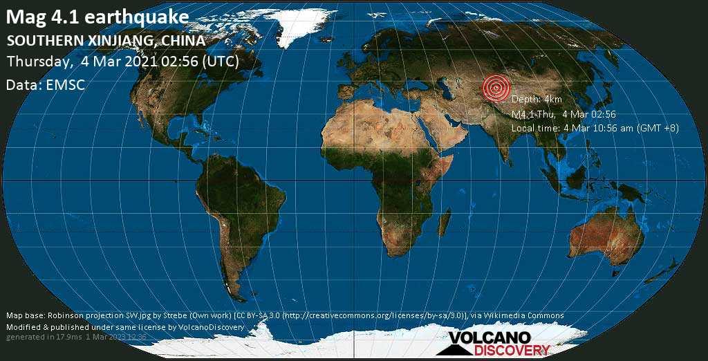 Moderate mag. 4.1 earthquake - 106 km west of Aksu, Xinjiang, China, on Thursday, 4 Mar 2021 10:56 am (GMT +8)
