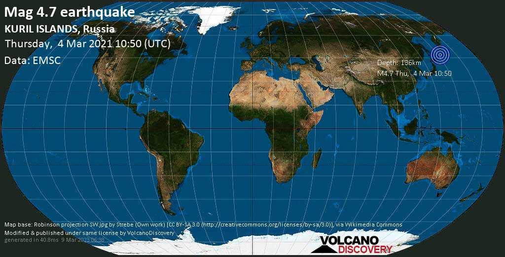 Light mag. 4.7 earthquake - Sea of Okhotsk, 280 km northeast of Kuril\'sk, Sakhalin Oblast, Russia, on Thursday, 4 Mar 2021 8:50 pm (GMT +10)