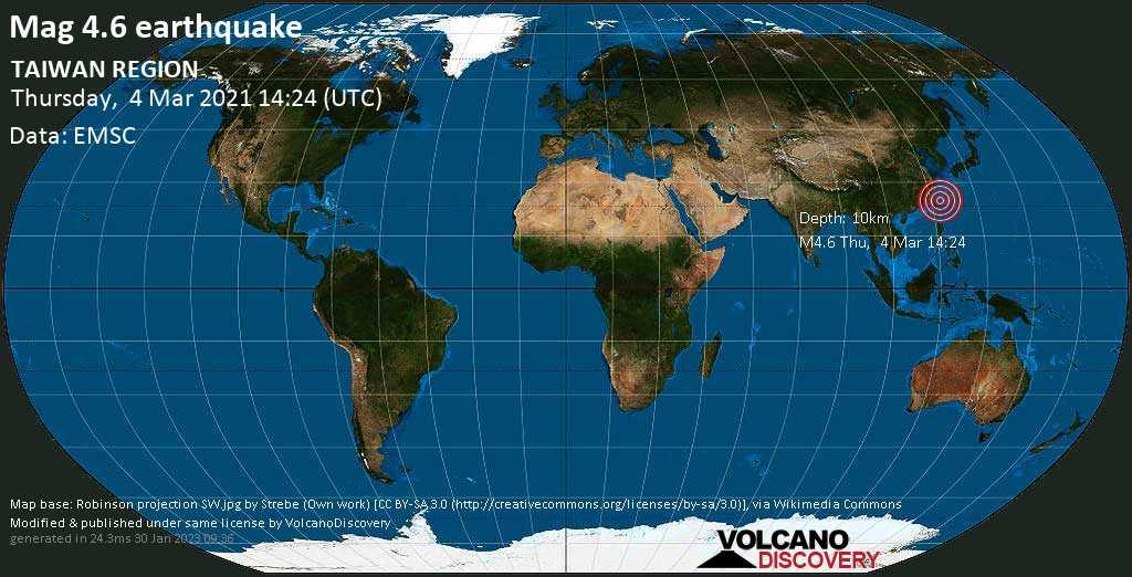 Quake info: Moderate mag. 4.6 earthquake – Philippines Sea, 85 km southeast of Taipei, Taiwan, on Thursday, 4 Mar 2021 11:24 pm (GMT +9)