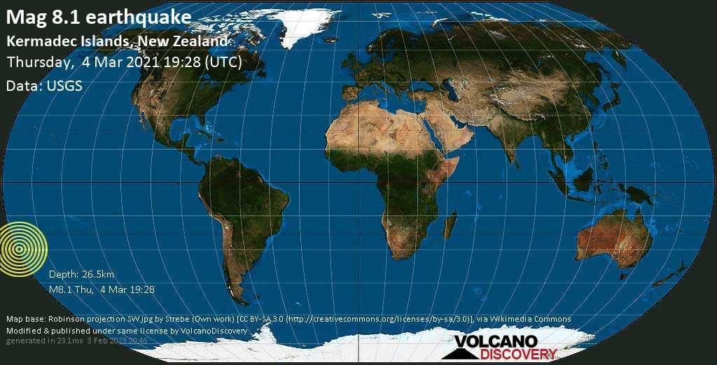 Terremoto maggiore magnitudine 8.1 - South Pacific Ocean, Nuova Zelanda, giovedí, 04 marzo 2021
