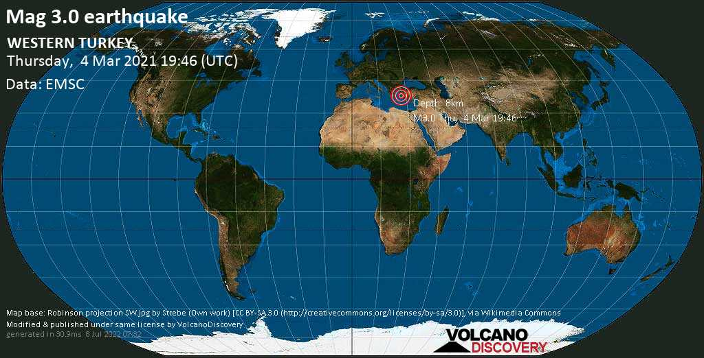 Sismo leggero mag. 3.0 - Mare Egeo, Grecia, 23 km a sud ovest da Kusadasi, Provincia di Aydın, Turchia, giovedí, 04 marzo 2021