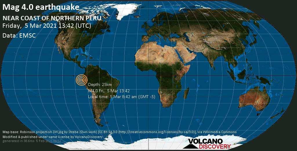 Light mag. 4.0 earthquake - 32 km southeast of Talara, Piura, Peru, on Friday, 5 Mar 2021 8:42 am (GMT -5)