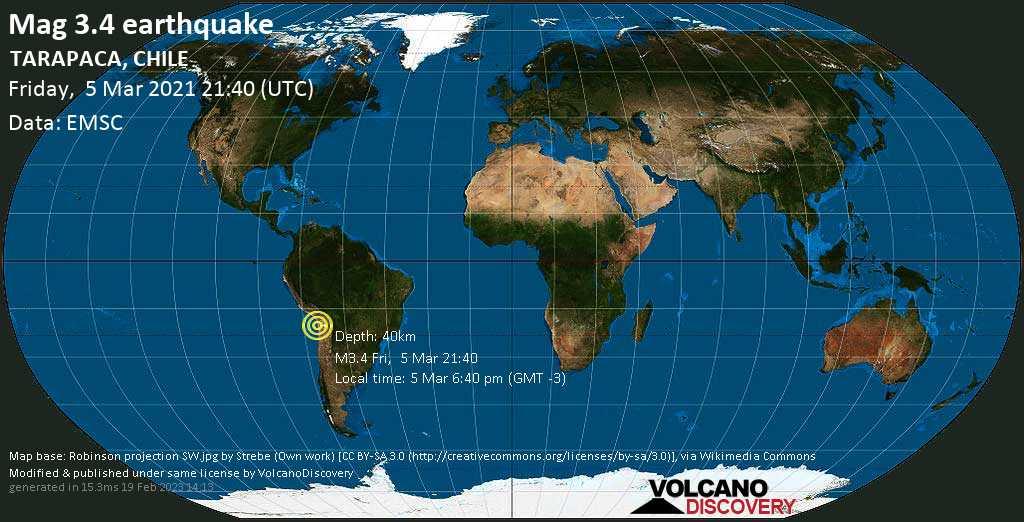 Sismo debile mag. 3.4 - Provincia del Tamarugal, 55 km a est da Iquique, Regione di Tarapacá, Cile, venerdí, 05 marzo 2021