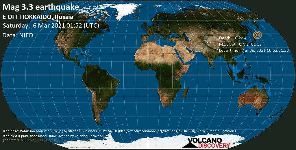 Light mag. 3.3 earthquake - North Pacific Ocean, 55 km south of Shikotan, Sakhalin Oblast, Russia, on Saturday, 6 Mar 2021 11:52 am (GMT +10)