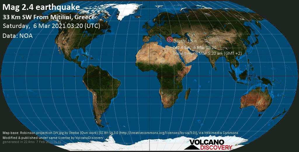 Weak mag. 2.4 earthquake - Aegean Sea, 33 km southwest of Mytilene, Lesvos, North Aegean, Greece, on Saturday, 6 Mar 2021 5:20 am (GMT +2)