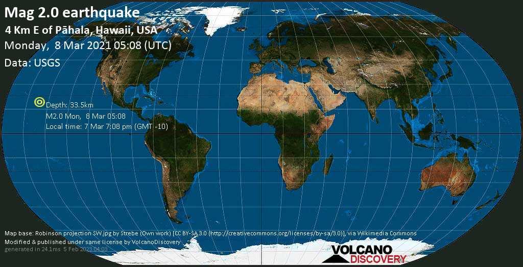 Sismo muy débil mag. 2.0 - 4 km E of Pāhala, Hawaii, USA, Monday, 08 Mar. 2021