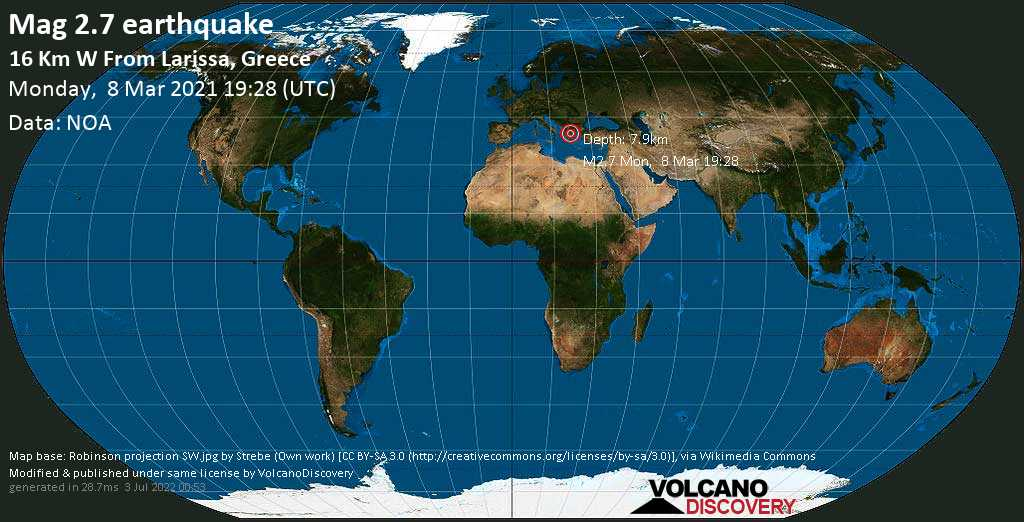 Weak mag. 2.7 earthquake - 15 km west of Larisa, Nomos Larisis, Thessaly, Greece, on Monday, 8 Mar 2021 9:28 pm (GMT +2)