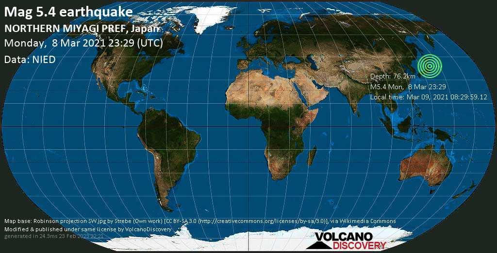 Moderates Erdbeben der Stärke 5.4 - Nordpazifik, 46 km nordöstlich von Ishinomaki, Präfektur Miyagi, Japan, am Dienstag,  9. Mär 2021 um 08:29 Lokalzeit