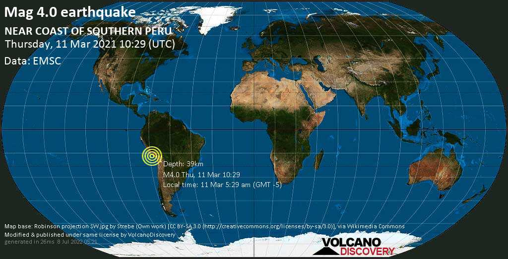 Light mag. 4.0 earthquake - South Pacific Ocean, 65 km west of Camana, Arequipa, Peru, on Thursday, 11 Mar 2021 5:29 am (GMT -5)
