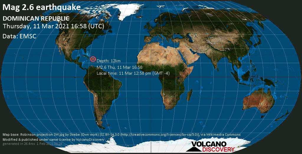 Schwaches Erdbeben Stärke 2.6 - 14 km südlich von Cotui, Provincia Sanchez Ramirez, Dominikanische Republik, am Donnerstag, 11. Mär 2021 um 12:58 Lokalzeit