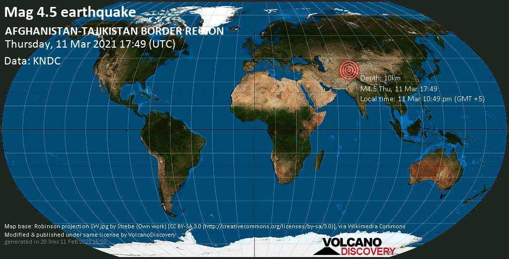 Moderate mag. 4.5 earthquake - 44 km north of Ishqoshim, Ishkoshim, Gorno-Badakhshan, Tajikistan, on Thursday, 11 Mar 2021 10:49 pm (GMT +5)