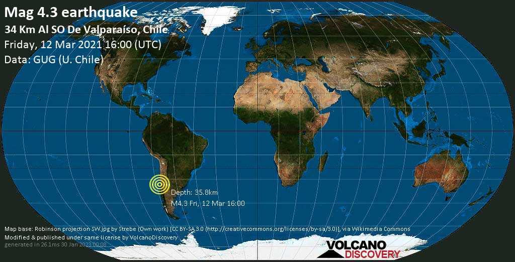 Terremoto leve mag. 4.3 - South Pacific Ocean, 34 km SW of Valparaiso, Region de Valparaiso, Chile, Friday, 12 Mar. 2021