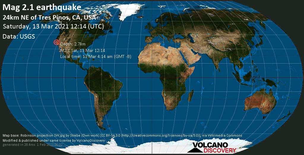 Weak mag. 2.1 earthquake - 24km NE of Tres Pinos, CA, USA, on Saturday, 13 Mar 2021 4:14 am (GMT -8)