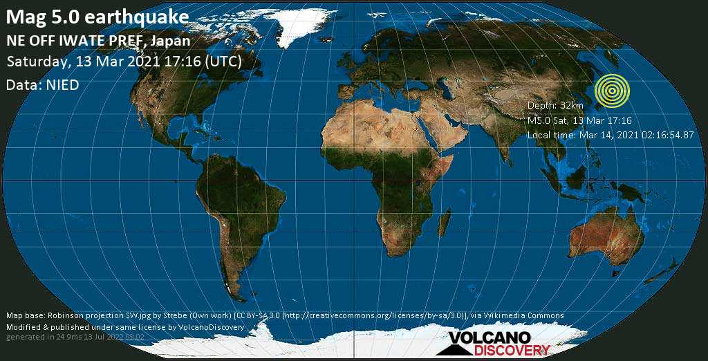 Moderates Erdbeben der Stärke 5.0 - Nordpazifik, 89 km südöstlich von Hachinohe, Präfektur Aomori, Japan, am Sonntag, 14. Mär 2021 um 02:16 Lokalzeit