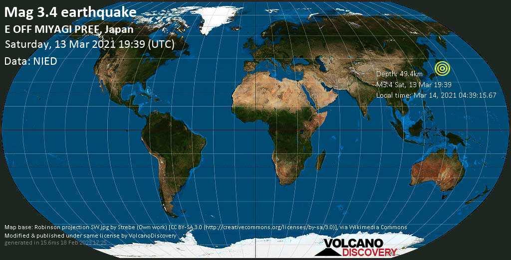 Schwaches Erdbeben Stärke 3.4 - Nordpazifik, 42 km südöstlich von Ishinomaki, Präfektur Miyagi, Japan, am Sonntag, 14. Mär 2021 um 04:39 Lokalzeit